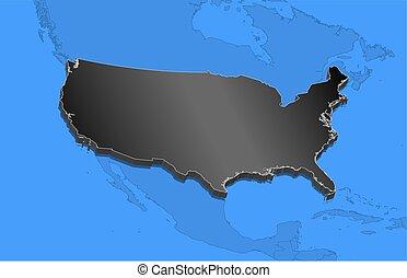 mapa, -, estados unidos, -, 3d-illustration