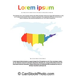 mapa, estados unidos américa, arco íris, coloridos