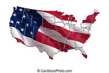 mapa, estados unidos de américa, colorido, 3d