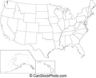 mapa, estados unidos de américa