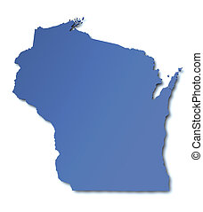 mapa, -, estados unidos de américa, wisconsin