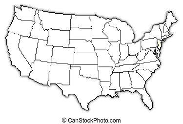 mapa, estados unidos, destacado, novo-jersey