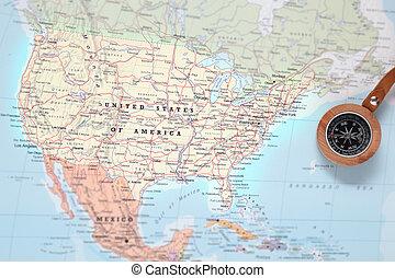 mapa, estados unidos, viaje destino, compasso