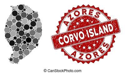 mapa, estampilla, mosaico, isla, corvo, grunge, redondo, sello