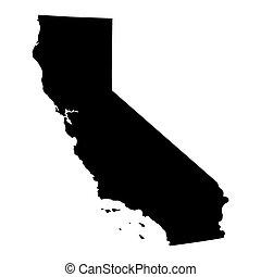mapa estatal, califórnia, eua.