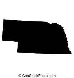 mapa estatal, eua., nebraska