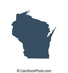 mapa estatal, eua., wisconsin