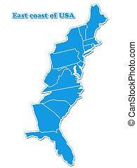 mapa, este, estados unidos de américa, costa