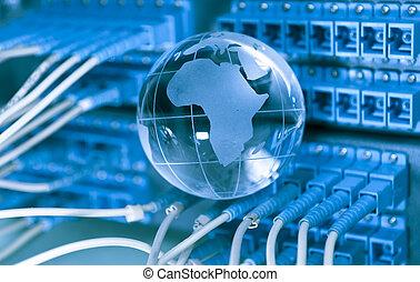 mapa, estilo, fibra ótico, contra, fundo, mundo, tecnologia