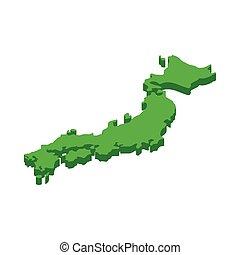 mapa, estilo, icono, 3d, isométrico, japón