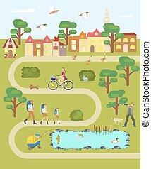 mapa, estrada, vila