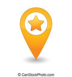 mapa, estrela, marca