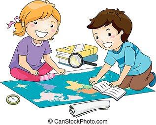 mapa, estudio, niños, geografía