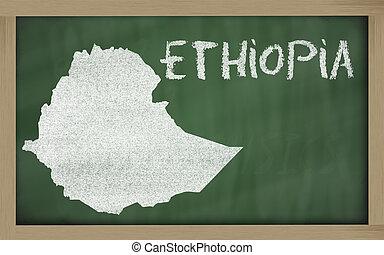 mapa, etiópia, esboço, quadro-negro