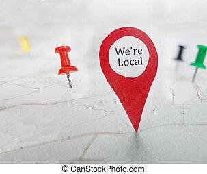 mapa, etiqueta, local