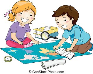 mapa, etiuda, dzieciaki, geografia