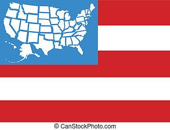 mapa, eua, 50, estados, bandeira, estrelas