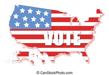 mapa, eua, -, bandeira, vetorial, eleição, dia