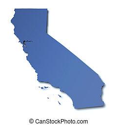 mapa, -, eua, califórnia