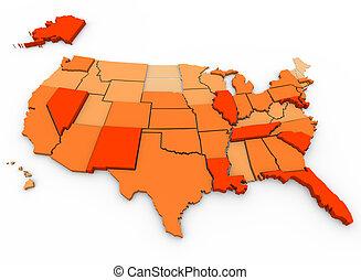 mapa, eua., crimes, -, violento, por, capita