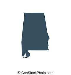 mapa, eua., estado, alabama