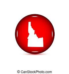 mapa, eua., estado, fundo, idaho., botão branco, vermelho