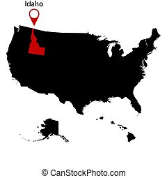 mapa, eua., estado, idaho