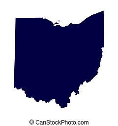 mapa, eua., estado, ohio
