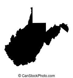 mapa, eua., estado, virgínia, oeste