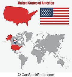 mapa, eua, ilustração, bandeira, vetorial, pointer., mundo