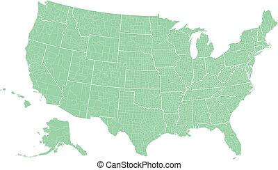 mapa, eua, municípios