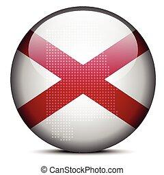 mapa, eua, padrão, botão, bandeira estatal, alabama, ponto
