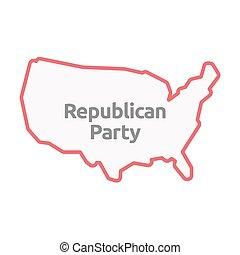 mapa, eua, texto, isolado, partido, republicano