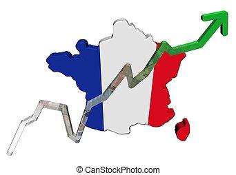 mapa, euros, gráfico, ilustração, bandeira frança