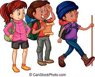 mapa, excursionistas, tres, mochilas
