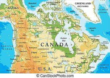 mapa, físico, canadá