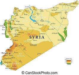 mapa, físico, siria
