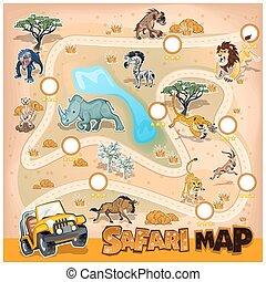 mapa, fauna, áfrica, safari