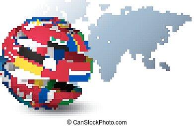 mapa, feito, globo, experiência., bandeiras, vector., mundo, saída