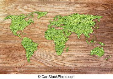 mapa, feito, grama verde, mundo