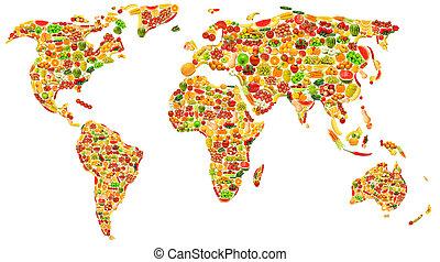 mapa, feito, muitos, legumes, frutas, mundo
