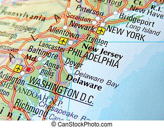 mapa, filadelfia, nueva york