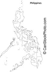 mapa, filipinas, contorno