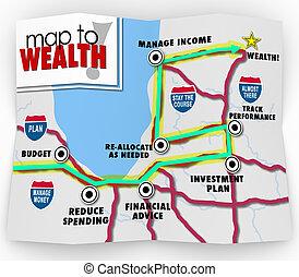 mapa, financeiro, riqueza, dinheiro, conselho, poupar, renda, fazer