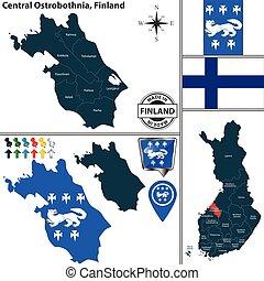 mapa, finlandia, główny, ostrobothnia