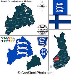 mapa, finlandia, ostrobothnia, południe