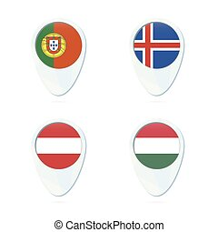 mapa, flag., islândia, portugal, hungria, icon., áustria, ponteiro