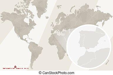 mapa, flag., map., svíčka, gibraltar, společnost