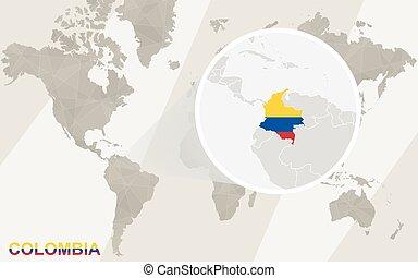 mapa, flag., map., zumbido, colombia, mundo
