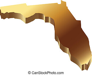 mapa, florida, oro, 3d